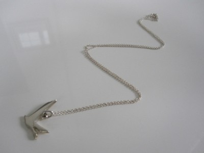 Tiffany & Co. Sterling Silver Bird Dove Goose Charm Pendant Necklace