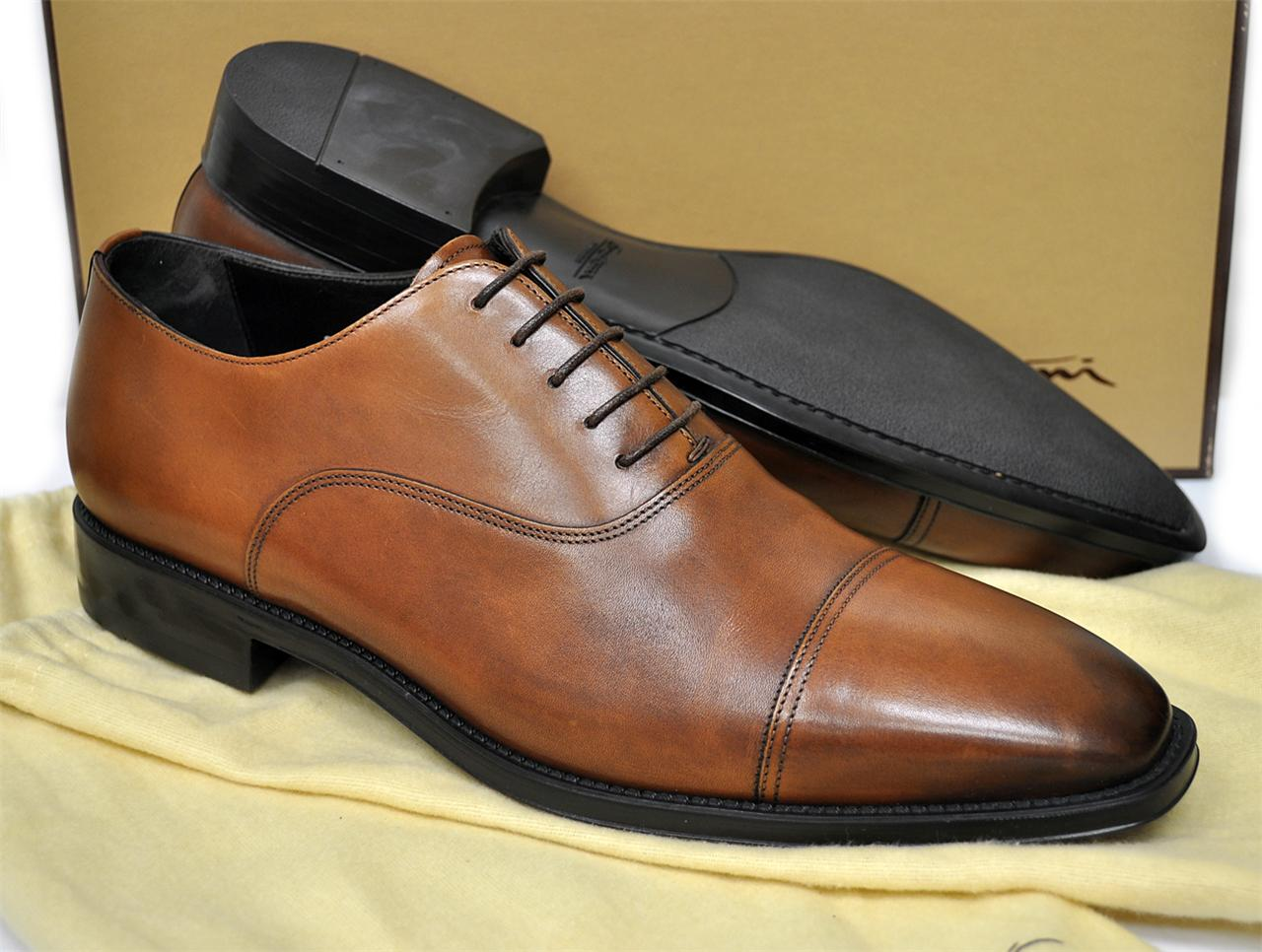 NEW Santoni Mens Shoes Handmade in Italy Jensen Cap Toe ...