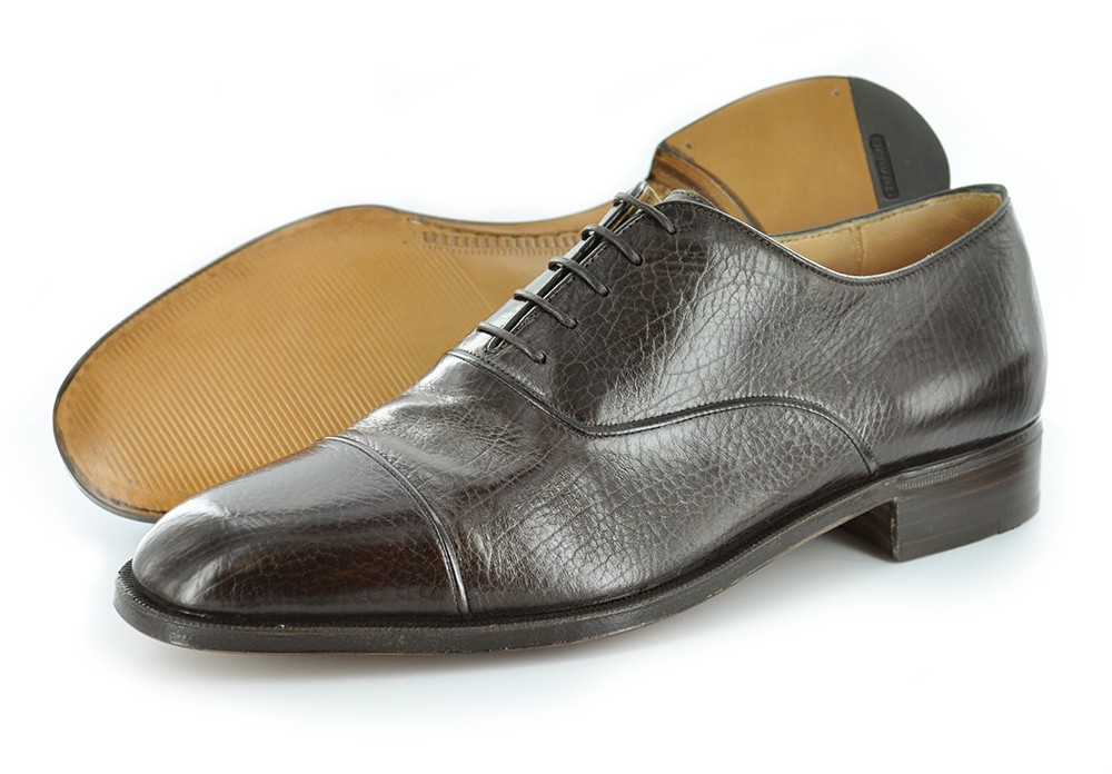 New-Gravati-Mens-Shoes-Cap-Toe-Bal-Oxfords-16592-Brown-MADE-IN-ITALY-575
