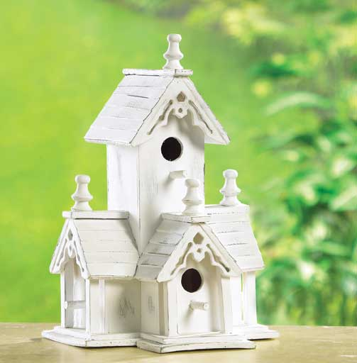 3 Victorian Style White Painted Bird Feeder House