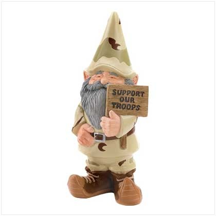 SUPPORT OUR TROOPS GARDEN CAMO GNOME INDOOR / OUTDOOR