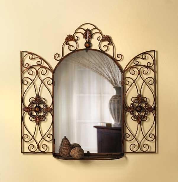 Tuscan Style Scrollwork Arch Wall Mirror W Curio Shelf Ebay