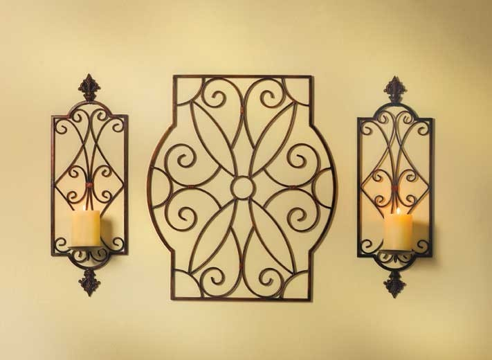 Wrought Iron Sconces Wall Decor : 3 Bronze IRON Scroll Candle Holder Wall art Sconce PAIR eBay