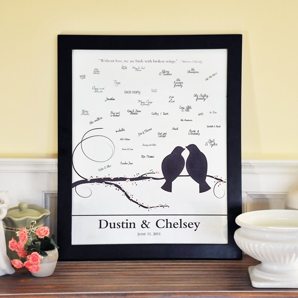 Details about Personalized Wedding Guest Book Signature Canvas Frame