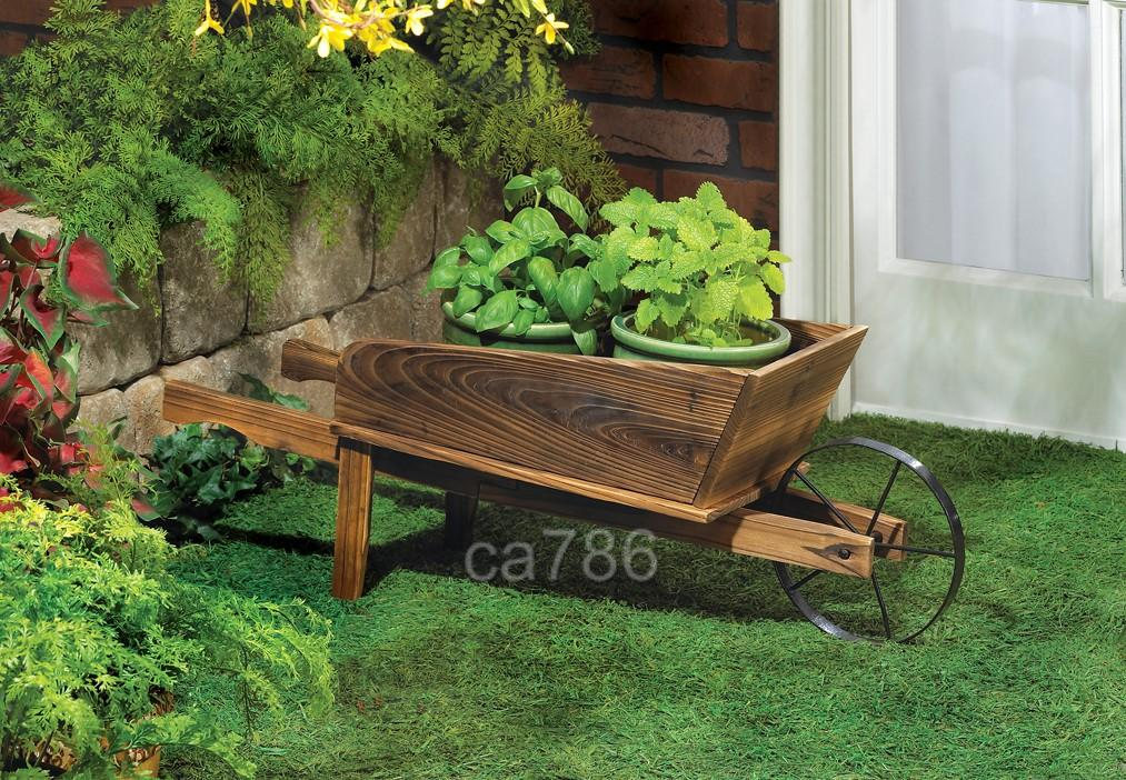 Details about WOOD FARM GARDEN WHEELBARROW FLOWER POT PLANTER CART