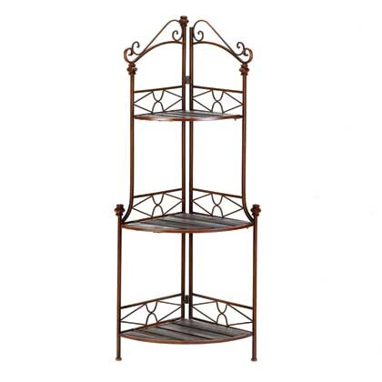 New corner metal wood 3 shelf bakers rack plant stand 47 ebay - Corner shelf for plants ...