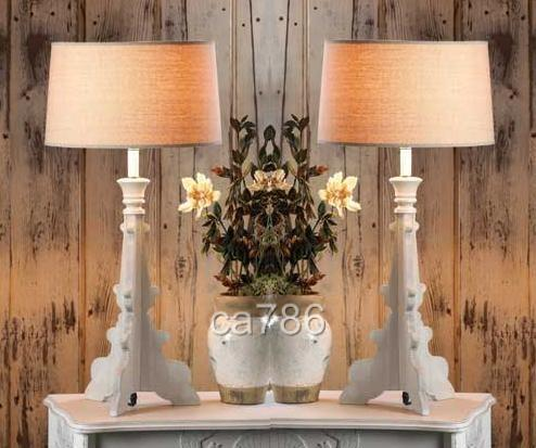 pair 2 french country baroque style table living room lamp lighting