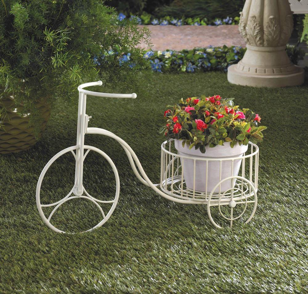 White wrought iron tricycle plant stand bicycle planter pot brand new ebay - Bicycle planter stand ...