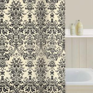 Gorgeous Ivory Black Damask Shower Curtain BNIP Cream