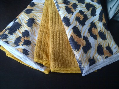 Gold Black LEOPARD PRINT Kitchen Tea Towels Teatowels Set of Four ...