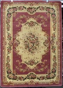 Rose Pink Green Burgundy Oriental Floral Traditional 5x7