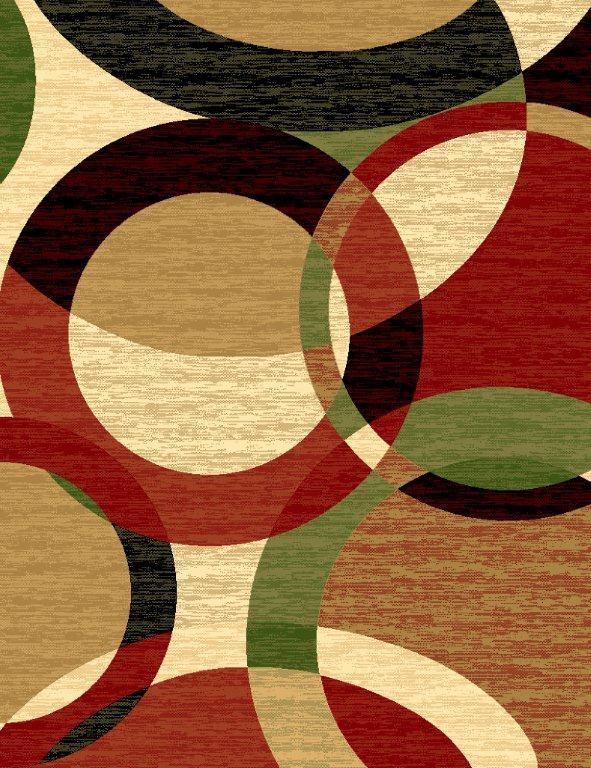 T1011 Black Green Beige Burgundy Rust Abstract