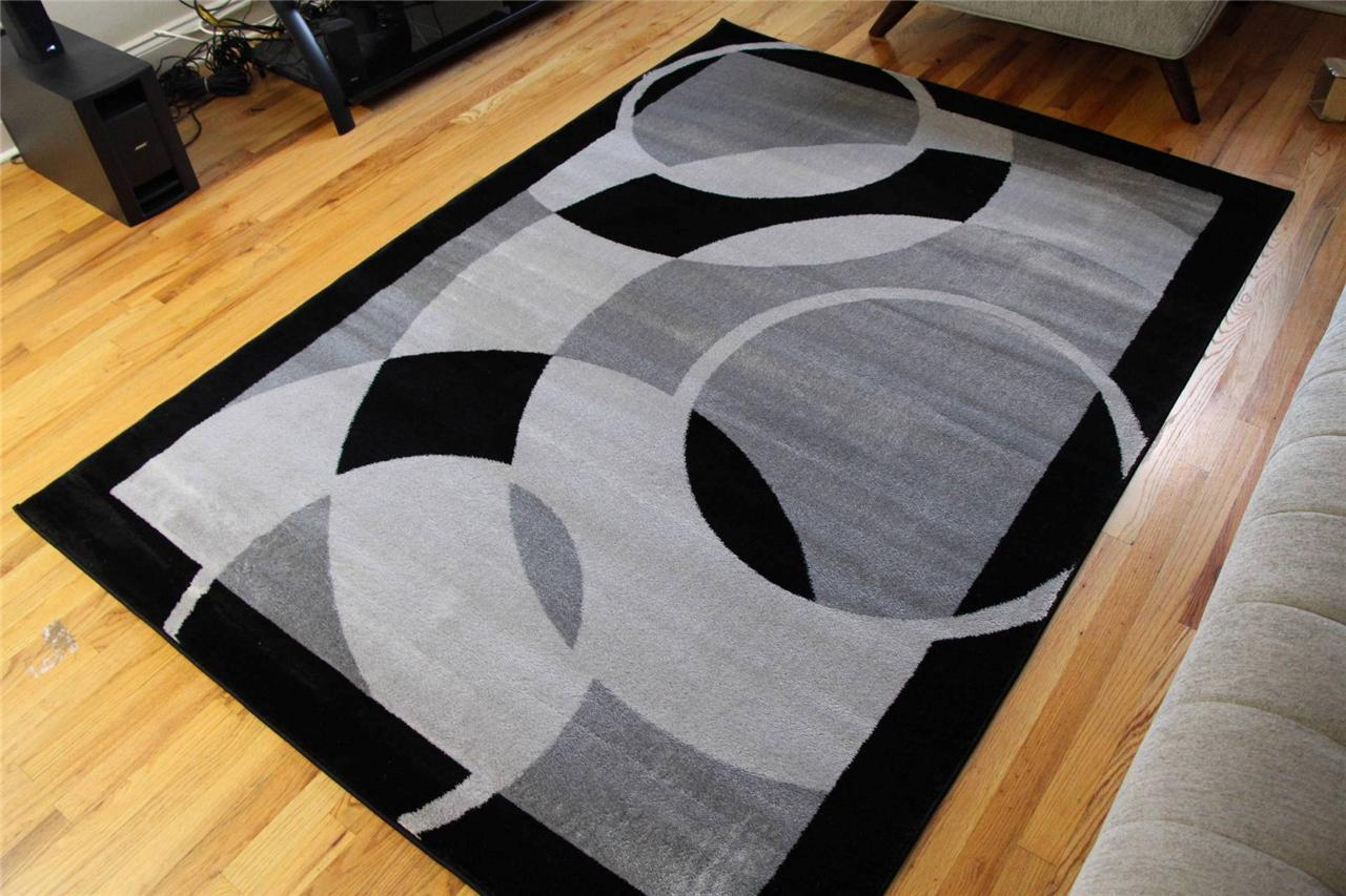 1052 gray black 5x7 8x10 area rugs carpet contemporary new for Cheap cheap carpet