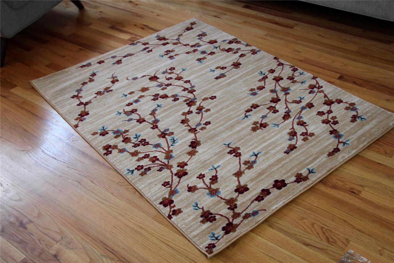 1025 Ivory Beige Blue Branches Vine 5x7 8x10 Area Rugs