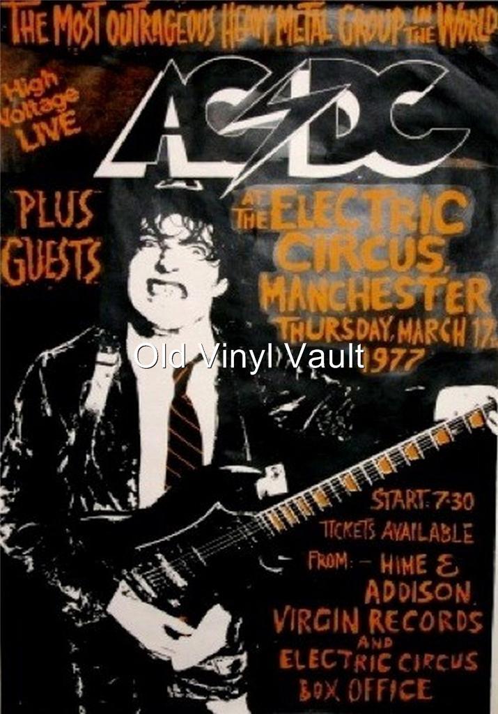 ac dc the electric circus manchester uk 1977 vintage concert poster ebay. Black Bedroom Furniture Sets. Home Design Ideas