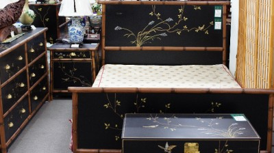 Matte Black Chinoiserie Lacquer Bamboo Bedroom 5 Set Queen Size Free Ship S Ca Ebay