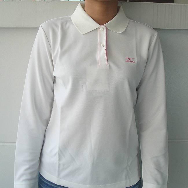 Mizuno womens golf polo shirt long sleeve ice tourch white for Womens golf shirts xxl