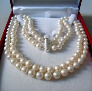 2 Rows 7-8 MM AKOYA SALTWATER PEARL NECKLACE