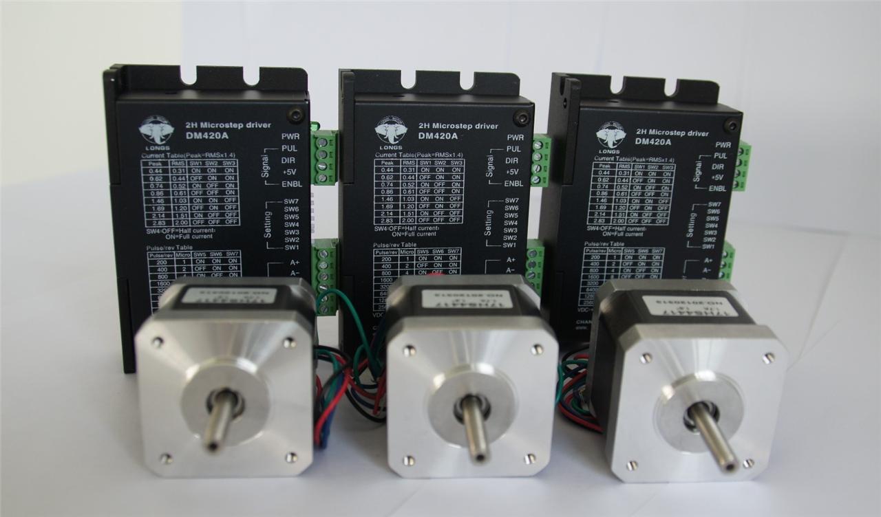 3 axis nema 17 stepper motor driver dm420a cnc for Stepper motor kits cnc