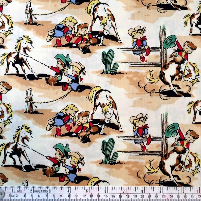 western country cowboy horse kids retro vintage fabric
