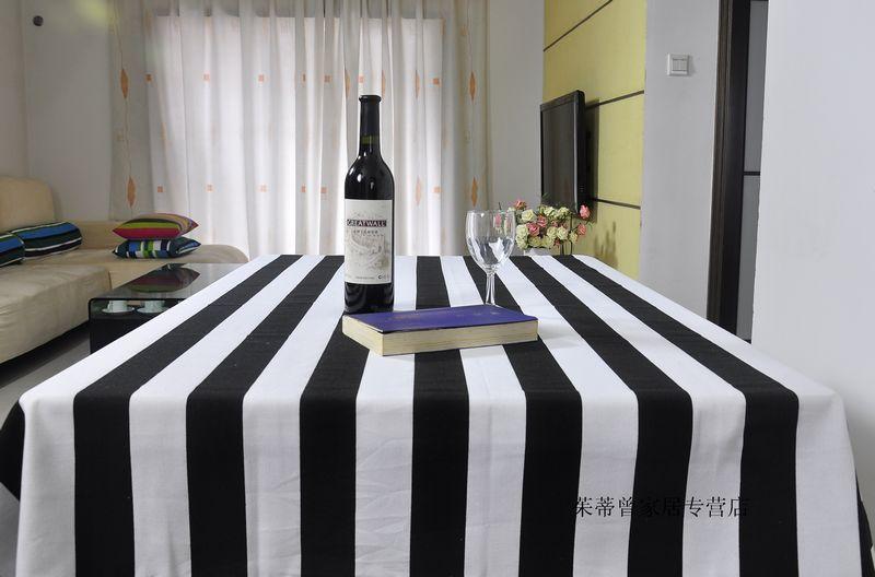 BN Linen Black White Stripe Restaurant Bar Party Rectangle Table Cloth ...