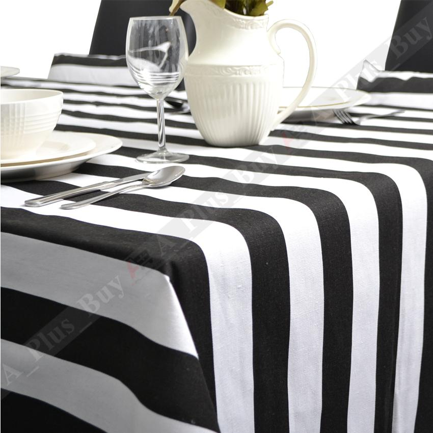 New large black white stripe tablecloth table cloth 100 for White cotton table cloth