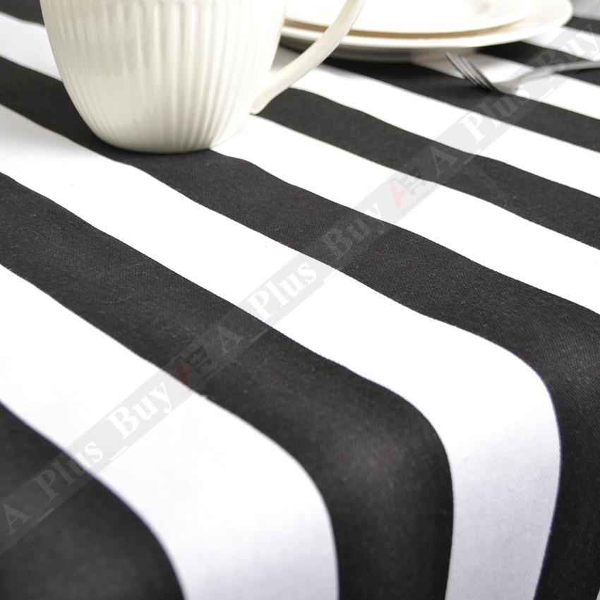 New Large Black White Stripe Tablecloth Table Cloth 100
