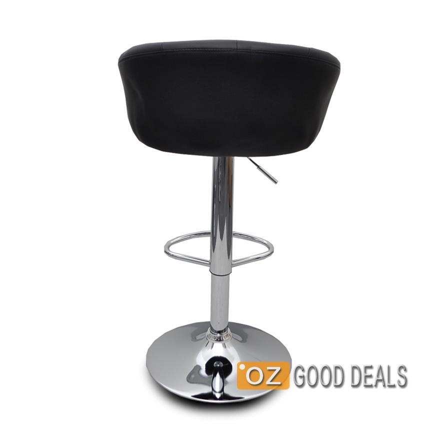 2x luxury pu leather bar stool kitchen chair chrome swivel for Luxury leather bar stools