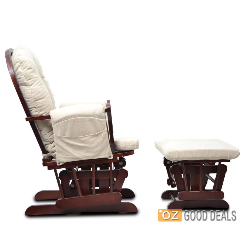 Wooden Baby Breastfeeding Relaxation Rocking Chair With Ottoman Glider ...