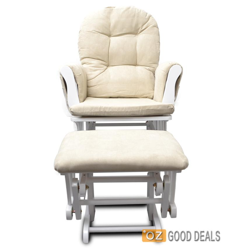 wooden baby glider sliding rocking breast feeding chair with ottoman white beige ebay. Black Bedroom Furniture Sets. Home Design Ideas
