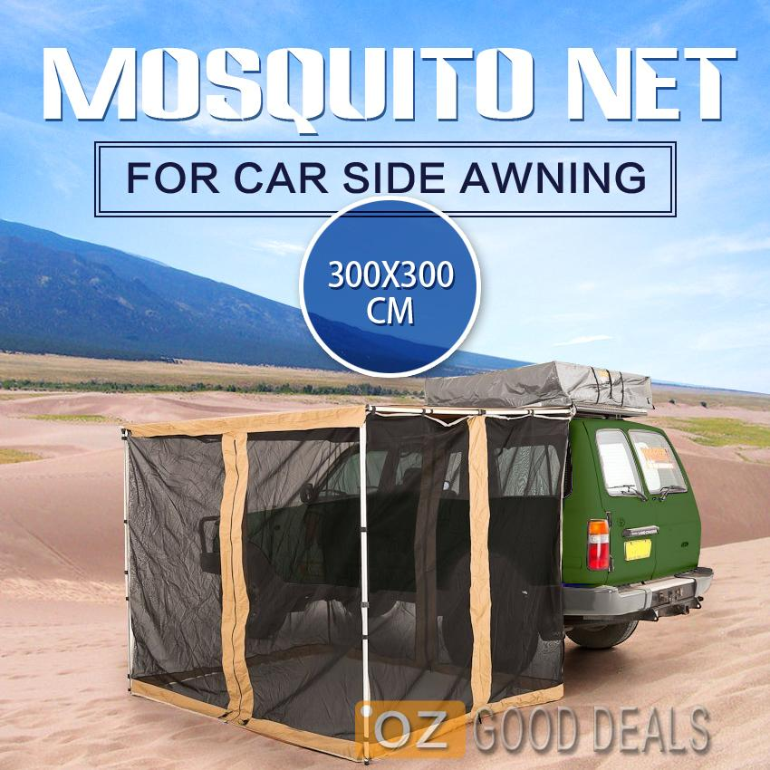 3M x 3M Car Side Mosquito Fly Mesh Net Awning Roof Tent ...