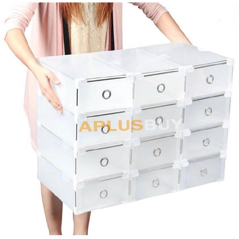 20x metal edging hard plastic clear shoe storage box boxes stackable 34x21x13cm. Black Bedroom Furniture Sets. Home Design Ideas