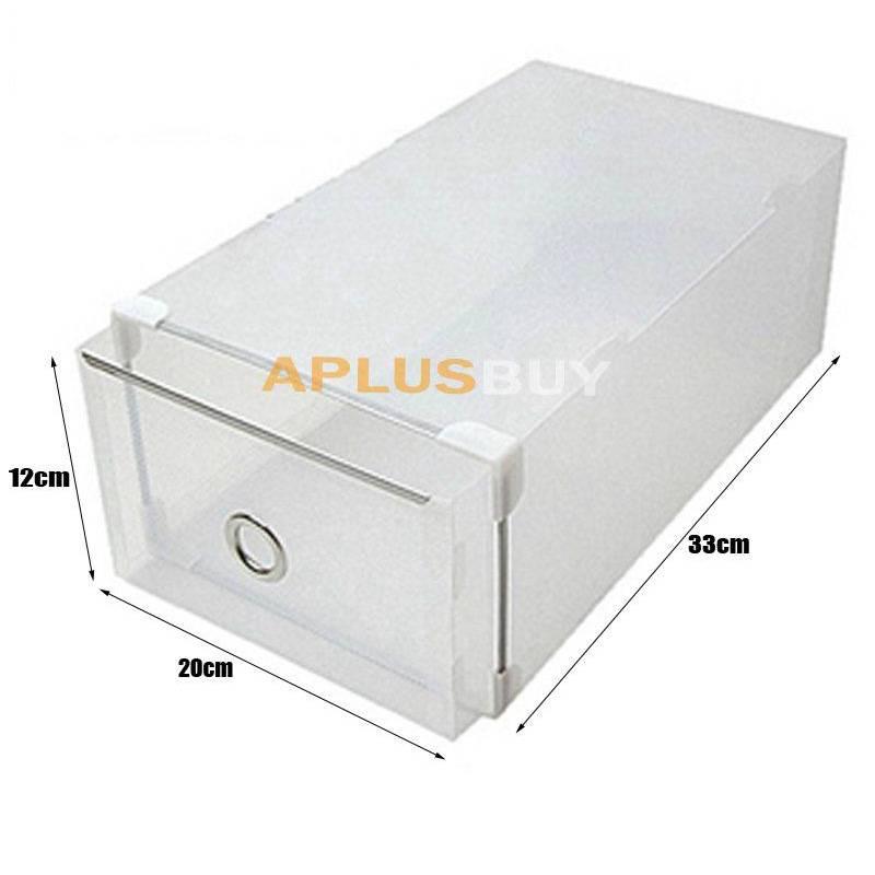 20x metal edging hard plastic clear shoe storage box boxes stackable 34x21x13cm ebay. Black Bedroom Furniture Sets. Home Design Ideas