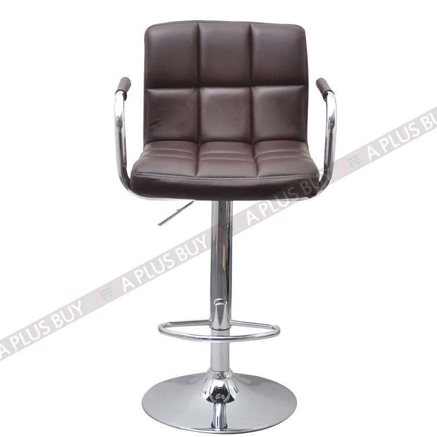 2x luxury pu leather bar stool chair swivel adjustable gas for Luxury leather bar stools