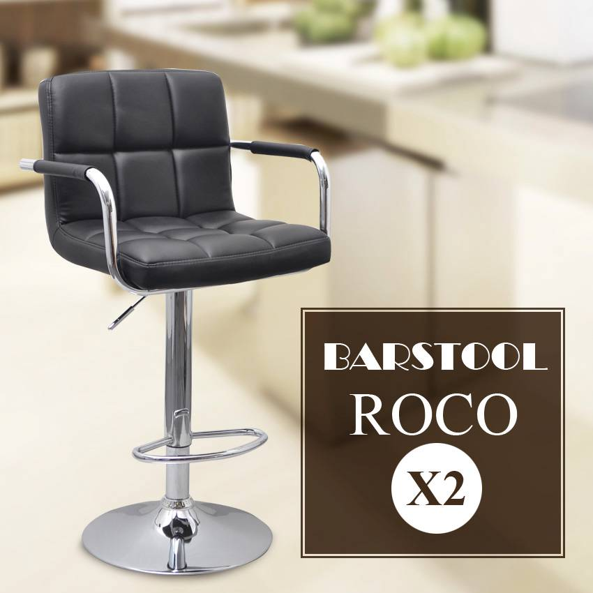 2x luxury pu leather bar stool kitchen chair armrest for Luxury swivel bar stools