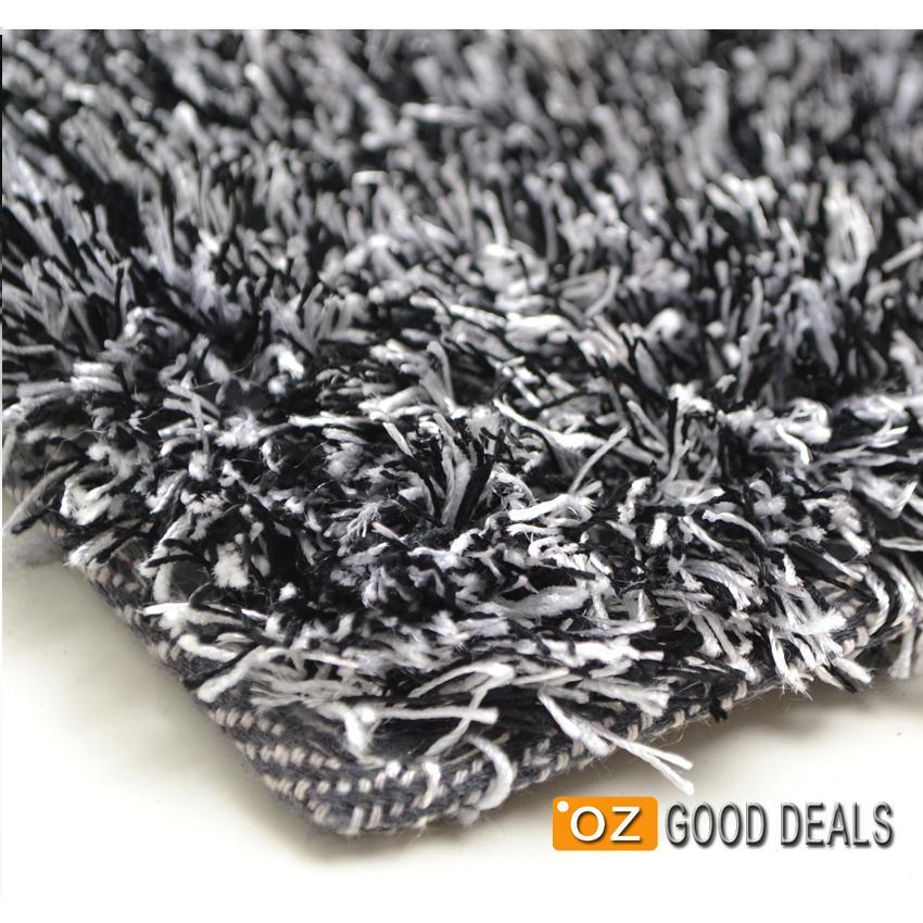 Black And White Rug Ebay Uk: New Designer Black White Shag Shaggy Floor Confetti Rug