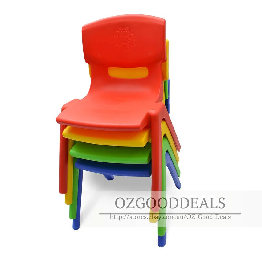 Set Of 6 Brand New Kids Toddler Plastic Chair Yellow Blue Red Green Up To 100kg Ebay