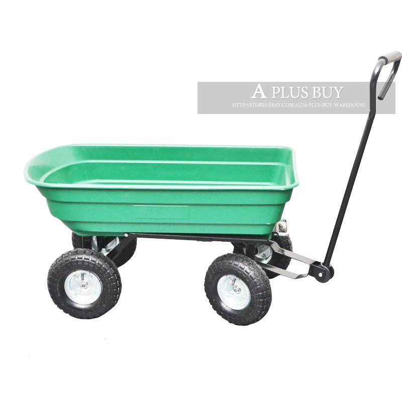Garden Rubbish Dump Dip Load Towed Cart Trolley Trailer