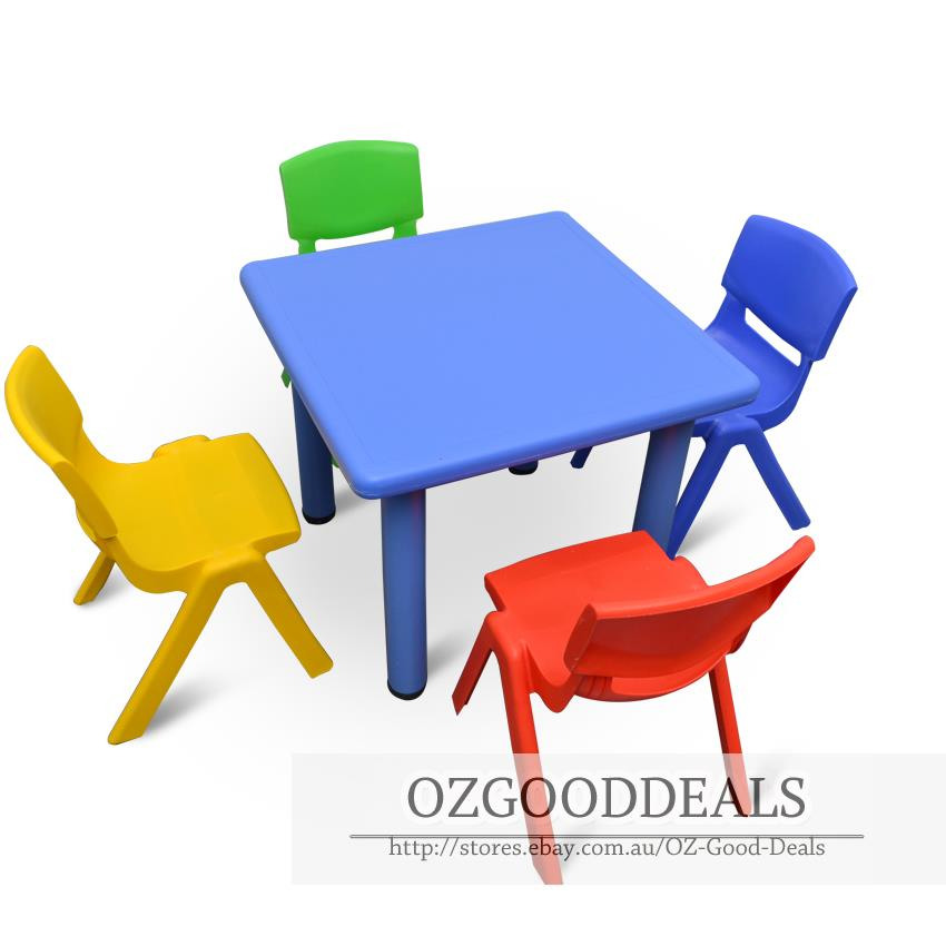 Kids Toddler Children Square Activity Table and 4 Chair