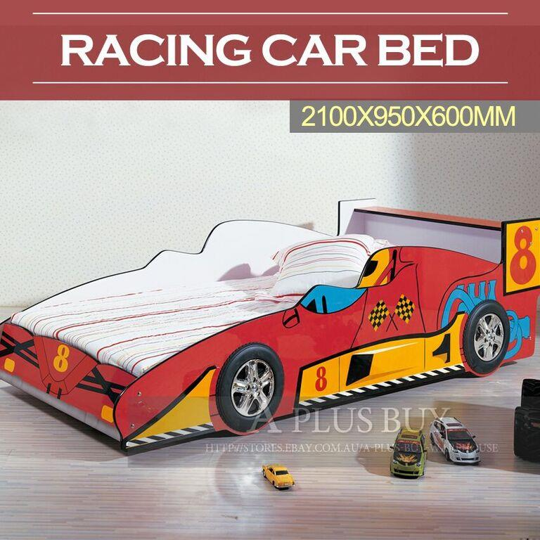 new kids toddler children single size racing car bed