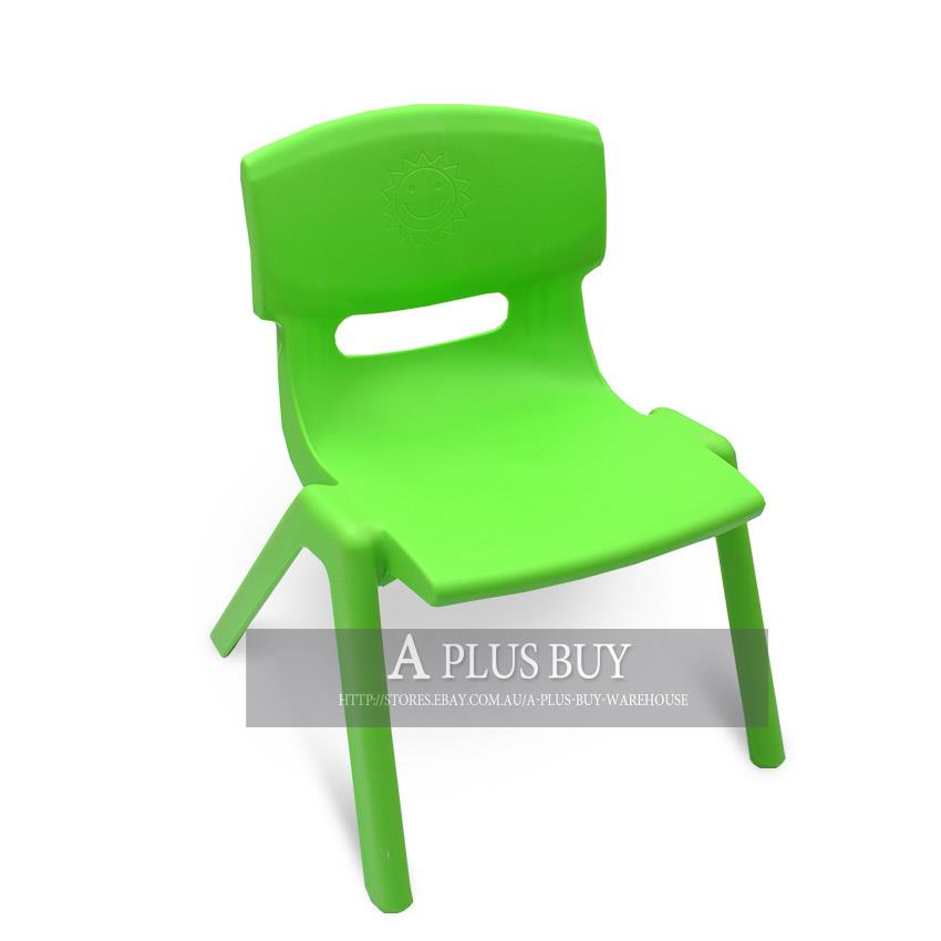 4 X New Children Kids Toddler Plastic Chair Yellow Blue Red Green Up To 100kg
