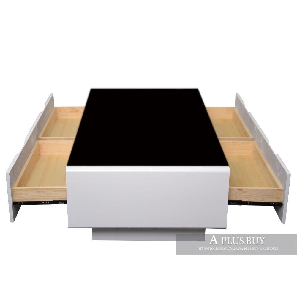 Coffee Table White Gloss Black Glass Top Coffee Table: New 1.3M Large High Gloss White Coffee Table Black Glass