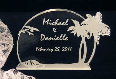 Acrylic Wedding Cake Toppers on Tropical Beach Wedding Cake Topper   Engraved Acrylic   Ebay