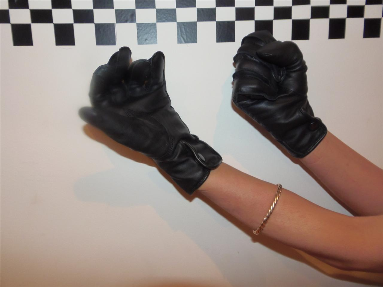 Black leather gloves female - New Genuine Mod Surplus Black Leather Gloves Police Women Search Security Guard