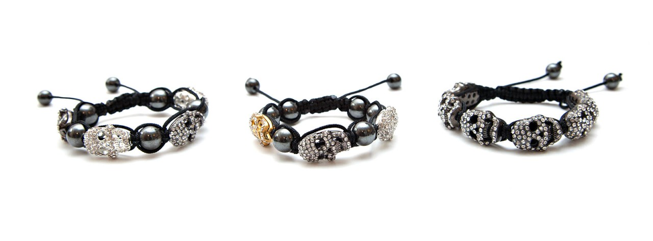 Diamante SKULL Shamballa Friendship Bracelet Making Kit + Instructions