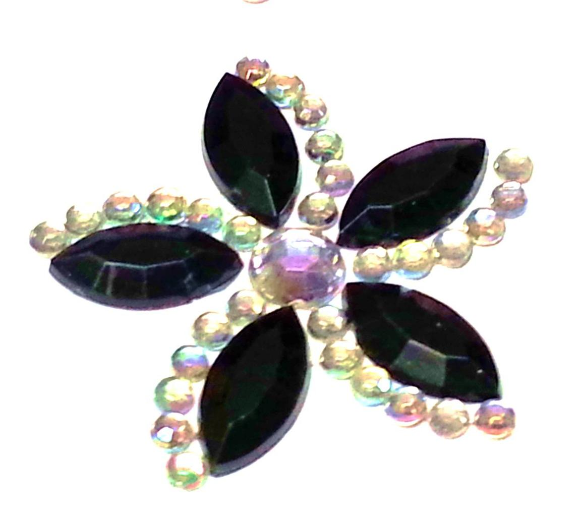 Cb054 12 black diamante self adhesive stick on flower for Stick on gems for crafts