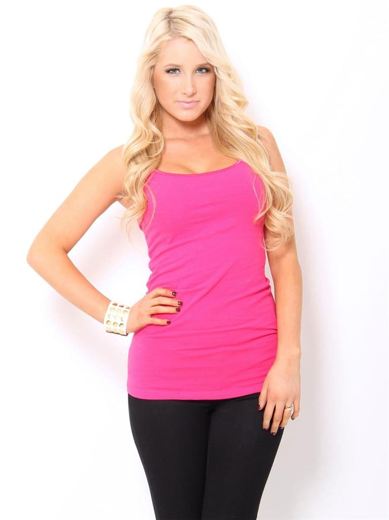 Women S Fuchsia Pink Camisole Tank Top Tunic Shirt With
