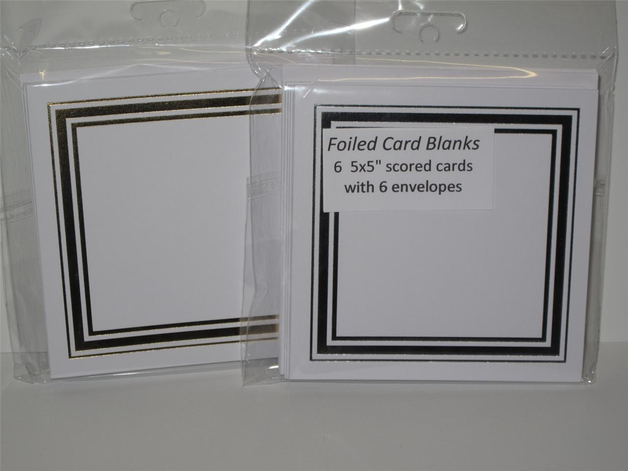 6 X Greeting Cards Blank Gold Or Silver Foiled 5 X 5 Single Fold