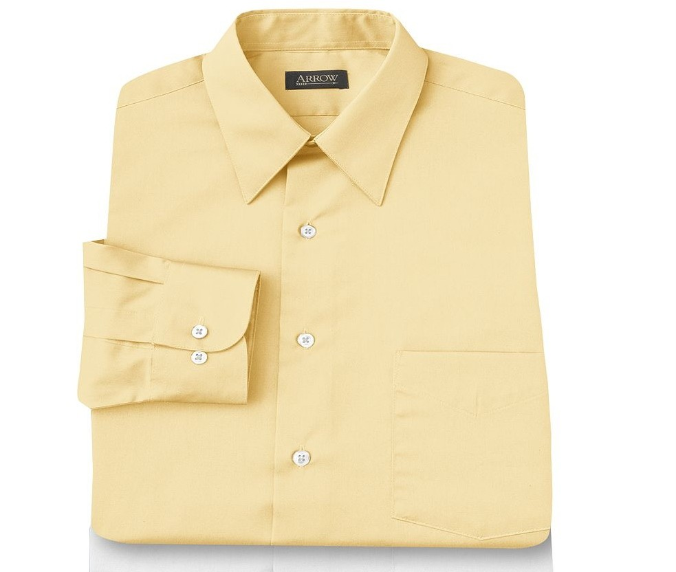 Arrow sateen long sleeve wrinkle free dress shirt yellow Best wrinkle free dress shirts