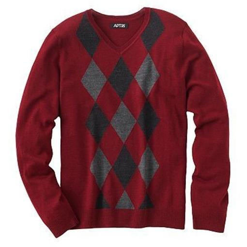 apt 9 men solid striped argyle merino wool v neck sweater